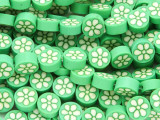 Green w/White Flower Polymer Clay Round Beads 10mm (CL215)