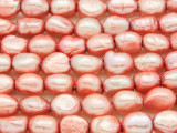 Coral Pink Irregular Oval Pearl Beads 12mm - Large Hole (PRL175)