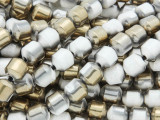 Brass & White Electroplated Ceramic Cathedral Beads - 8mm (CER77)