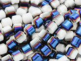 Jeweltone Blue & White Electroplated Ceramic Cathedral Beads - 8mm (CER79)