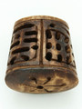 Brown Carved Oval Cylinder Bone Pendant 38mm (AP1874)