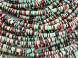 Red, Ivory, Green & Black Vinyl Disc Beads 3mm (VY217)
