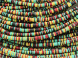 Yellow, Black, Red & Green Vinyl Disc Beads 3mm (VY219)