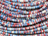 Red, White & Blue Vinyl Disc Beads 3mm (VY220)