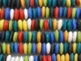 Multi-Color Saucer Sandcast Glass Beads 14mm (SC968)