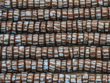 Brown w/Stripes Heishi Sandcast Glass Beads 7-8mm (SC975)