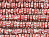 Red w/Stripes Heishi Sandcast Glass Beads 7-8mm (SC977)
