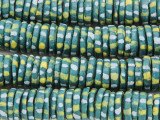 Teal w/Dots Disc Sandcast Glass Beads 11-15mm (SC984)