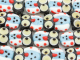 White & Blue Owl Lampwork Glass Beads 20mm (LW1572)