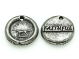 Faithful - Pewter Wax Seal Charm 14mm (PW853)