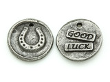 Good Luck - Pewter Wax Seal Charm 20mm (PW855)