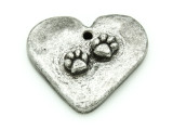 Heart w/Paw Prints - Pewter Pendant 27mm (PW861)