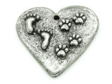 Heart w/Footprints & Paw Prints - Pewter Pendant 34mm (PW869)