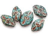 Turquoise, Coral & Silver Tibetan Bead 26mm (TB217)