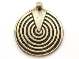 Brass Spiral Shield Tibetan Pendant 60mm (TB287)
