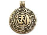 Brass Om Tibetan Pendant 45mm (TB426)