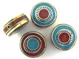 Turquoise, Coral & Brass Tibetan Bead 24mm (TB431)