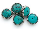Turquoise & Silver Tibetan Bead 23mm (TB432)