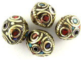 Turquoise, Coral & Brass Saucer Tibetan Bead 14mm (TB336)
