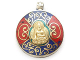 Buddha Tibetan Pendant w/Inlay 38mm (TB390)