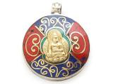 Buddha Tibetan Pendant w/Inlay 38mm (TB390)