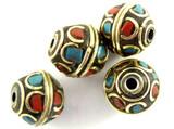 Turquoise, Coral & Brass Tibetan Bead 12mm (TB340)