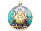 Buddha Tibetan Pendant w/Inlay 38mm (TB392)