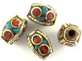 Turquoise, Coral & Brass Tibetan Bead 14mm (TB346)