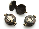 Antiqued Bronze Tibetan Box Pendant 34mm (TB399)