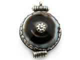 Silver w/Black Agate Tibetan Pendant 58mm (TB403)