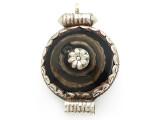 Silver w/Black Agate Tibetan Pendant 51mm (TB405)