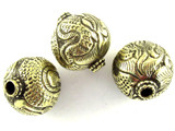 Ornate Brass Round Tibetan Bead 24mm (TB358)
