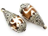 Batik Bone w/Silver Caps Tibetan Pendant 48mm (TB511)