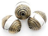 Conch Shell w/Brass Caps Tibetan Bead 20-24mm (TB517)