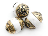 Conch Shell w/Brass Caps Tibetan Bead 18-22mm (TB518)