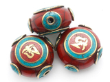 Red Resin & Brass Tibetan Bead 24mm (TB520)
