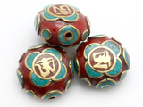 Om Tibetan Amber Resin Coral Bead 24mm (TB528)