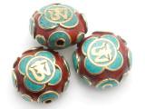 Om Tibetan Bead 24mm (TB529)