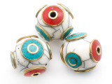White Resin & Brass Tibetan Bead 16mm (TB535)