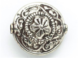 Silver Metal w/Floral Tibetan Bead 34mm (TB540)