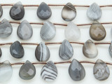 Botswana Agate Faceted Teardrop Gemstone Beads 13-15mm (GS4037)