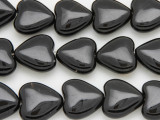 Black Agate Heart Gemstone Beads 18mm (GS4040)
