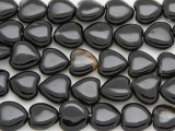 Black Agate Heart Gemstone Beads 12mm (GS4042)