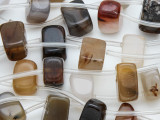 Brown Agate Block Gemstone Beads 12-15mm (GS4065)