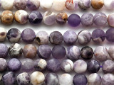 Matte Chevron Amethyst Round Gemstone Beads 8mm (GS4112)