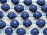 "Blue Painted Recycled Paper Beads - 36"" strand (PA104)"