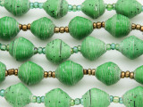 "Green Recycled Paper Beads - 36"" strand (PA107)"