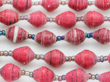 """Dark Pink Recycled Paper Beads - 36"""" strand (PA113)"""