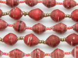 "Brick Red Recycled Paper Beads - 36"" strand (PA115)"