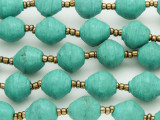 "Turquoise Painted Recycled Paper Beads - 30"" strand (PA119)"